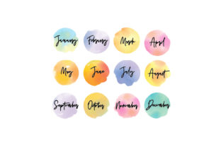 Watercolor Month Stickers Planner Craft Cut File By Creative Fabrica Crafts