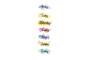 Watercolor Days of the Week Stickers Planner Craft Cut File By Creative Fabrica Crafts