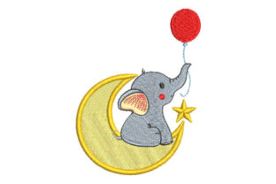 Baby Elephant with Moon Baby Animals Embroidery Design By Embroiderypacks