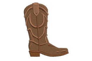 Cowboy Boot in Leather Color Cowboy & Cowgirl Embroidery Design By Embroidery Designs