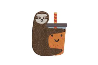 Cute Sloth Hugging a Bubble Tea Wild Animals Embroidery Design By Embroidery Designs