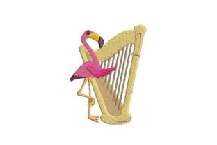 Flamingo with  a Harp Music Embroidery Design By Embroidery Designs