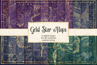 Print on Demand: Gold Star Maps Graphic Textures By Digital Curio 1