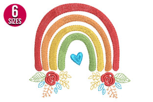 Print on Demand: Rainbow with Flowers Floral & Garden Embroidery Design By nationsembroidery
