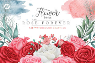 Print on Demand: Rose Flower Watercolor Arts Collection Graphic Illustrations By nesdigiart