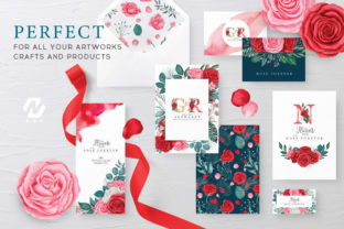 Print on Demand: Rose Flower Watercolor Arts Collection Graphic Illustrations By nesdigiart 15