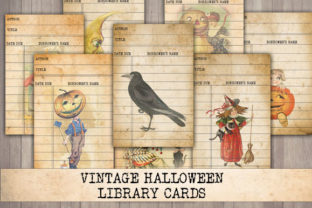 Print on Demand: Vintage Halloween Library Cards Graphic Objects By Digital Attic Studio