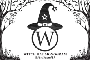 Print on Demand: Witch Hat Monogram Decorative Font By fontbrand19