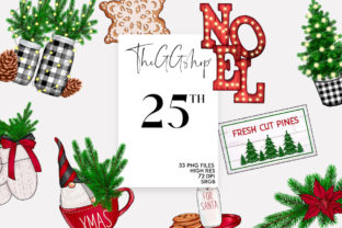 Print on Demand: FARMHOUSE HYGGE CHRISTMAS CLIPARTS Graphic Illustrations By TheGGShop