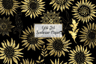 Print on Demand: Gold Foil Sunflower Clipart Graphic Illustrations By Digital Curio