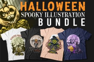 Print on Demand: Halloween Spooky Illustration Bundle Graphic Print Templates By Universtock