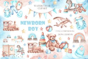 Newborn Baby Boy Watercolor Clipart. Graphic Illustrations By sabina.zhukovets