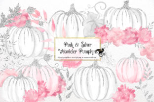 Print on Demand: Pink and Silver Watercolor Pumpkins Graphic Illustrations By Digital Curio 1