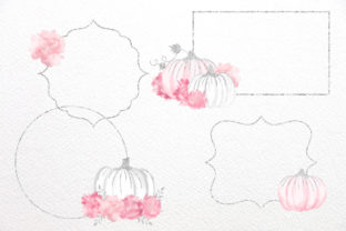 Print on Demand: Pink and Silver Watercolor Pumpkins Graphic Illustrations By Digital Curio 2