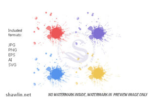 Set of Colorful Hand Drawn Splashes Graphic Web Templates By shawlin