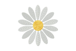 Print on Demand: Simple Single White Daisy Single Flowers & Plants Embroidery Design By EmbArt 1