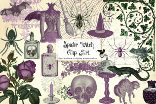 Print on Demand: Spider Witch Clipart Graphic Illustrations By Digital Curio