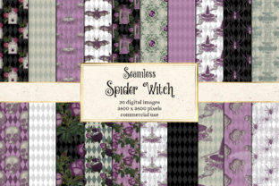 Print on Demand: Spider Witch Digital Paper Graphic Patterns By Digital Curio 1