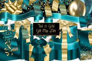 Print on Demand: Teal and Gold Gift Clipart Graphic Illustrations By Digital Curio