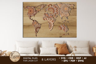 Print on Demand: WORLD MAP Multilayer Laser Cut Files Graphic 3D SVG By LaserCutano