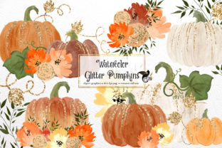 Print on Demand: Watercolor Glitter Pumpkins Graphic Illustrations By Digital Curio