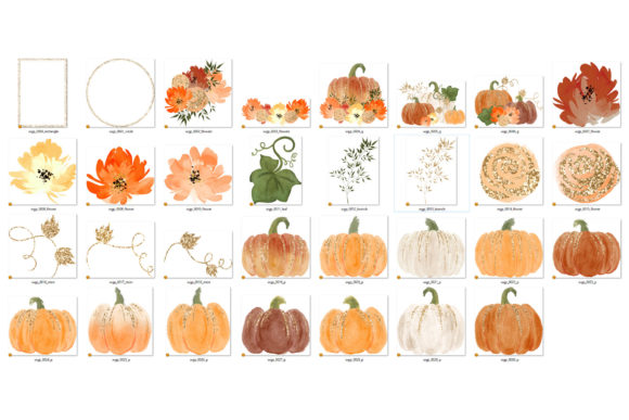 This is a set of watercolor autumn graphics with pumpkins, leaves, flowers, and frames with gold glitter accents. They are perfect for fall party props,