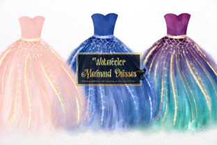 Print on Demand: Watercolor Mermaid Dresses Clipart Graphic Illustrations By Digital Curio