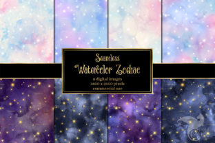 Print on Demand: Watercolor Zodiac Digital Paper Graphic Textures By Digital Curio