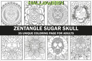 Halloween Sugar Skull  Coloring Book Graphic Coloring Pages & Books Adults By Creative Design Studio