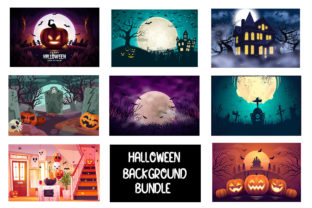 Print on Demand: Halloween Background Bundle Graphic Backgrounds By ItsNile
