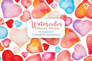 Print on Demand: Heart Shape Watercolor Hand Painting Graphic Illustrations By nesdigiart