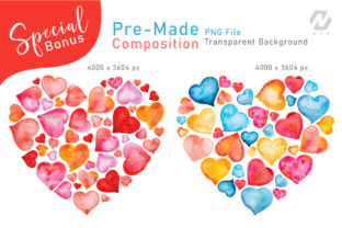 Print on Demand: Heart Shape Watercolor Hand Painting Graphic Illustrations By nesdigiart 10