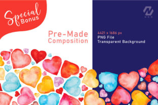 Print on Demand: Heart Shape Watercolor Hand Painting Graphic Illustrations By nesdigiart 11