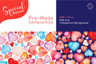 Print on Demand: Heart Shape Watercolor Hand Painting Graphic Illustrations By nesdigiart 12