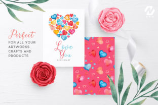 Print on Demand: Heart Shape Watercolor Hand Painting Graphic Illustrations By nesdigiart 13