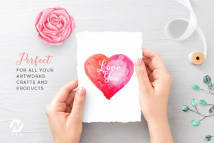 Print on Demand: Heart Shape Watercolor Hand Painting Graphic Illustrations By nesdigiart 14