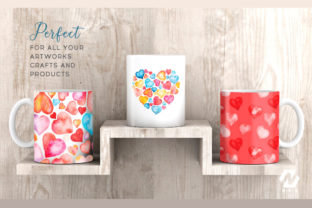 Print on Demand: Heart Shape Watercolor Hand Painting Graphic Illustrations By nesdigiart 15