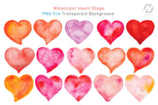 Print on Demand: Heart Shape Watercolor Hand Painting Graphic Illustrations By nesdigiart 2