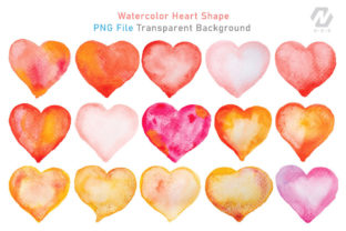 Print on Demand: Heart Shape Watercolor Hand Painting Graphic Illustrations By nesdigiart 3