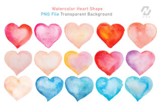 Print on Demand: Heart Shape Watercolor Hand Painting Graphic Illustrations By nesdigiart 4