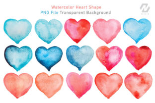 Print on Demand: Heart Shape Watercolor Hand Painting Graphic Illustrations By nesdigiart 5