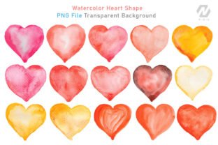 Print on Demand: Heart Shape Watercolor Hand Painting Graphic Illustrations By nesdigiart 6
