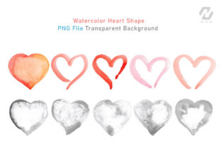 Print on Demand: Heart Shape Watercolor Hand Painting Graphic Illustrations By nesdigiart 7