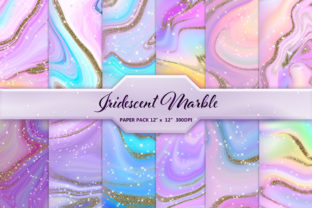 Iridescent Marble and Gold Glitter Graphic Backgrounds By DifferPP
