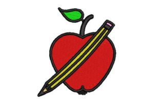 School Apple with Pencil Back to School Embroidery Design By Embroidery Designs