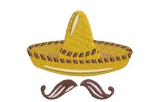 Sombrero Hat with Moustache Mexico Embroidery Design By Embroidery Designs
