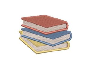 Stack of Books Back to School Embroidery Design By Embroidery Designs
