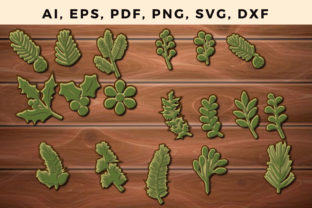 Print on Demand: Multi Layer Christmas Leaf 3d Svg Bundle Graphic 3D SVG By NGISED