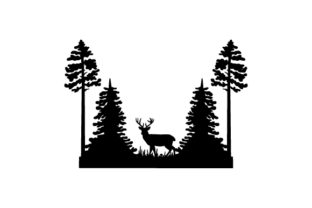 Silhouette Woodland Scene Nature & Outdoors Craft Cut File By Creative Fabrica Crafts