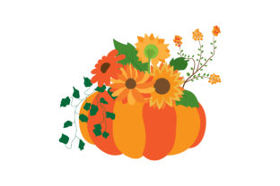 Pumpkin with Autumnal Flowers Thanksgiving Craft Cut File By Creative Fabrica Crafts